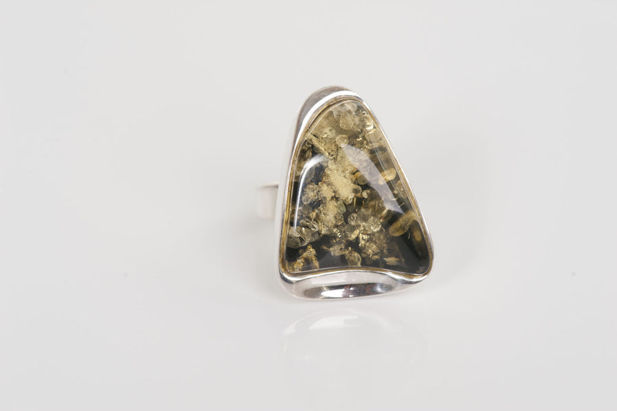"Sterling silver Baltic amber ring ""Allure"""