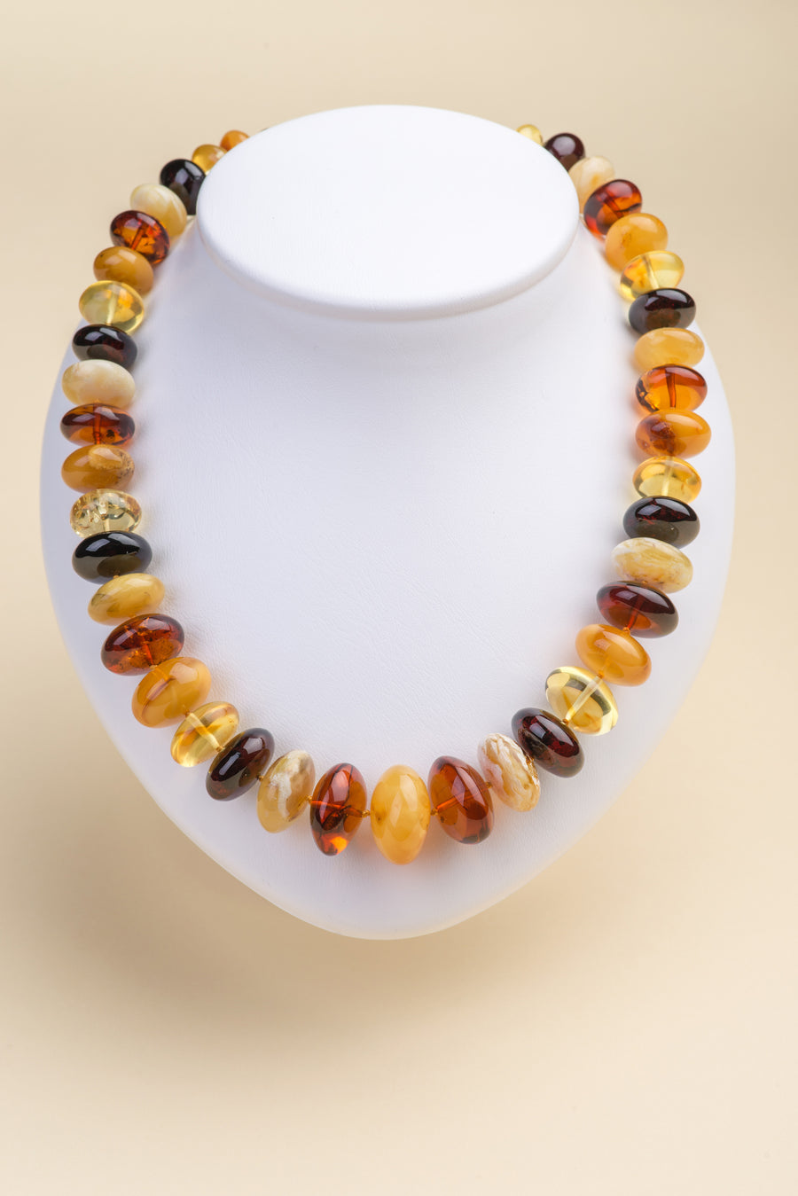 "Multicolor Baltic amber beaded necklace ""Sweetness V"""