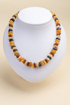 Cut stones Baltic amber multicolor necklace