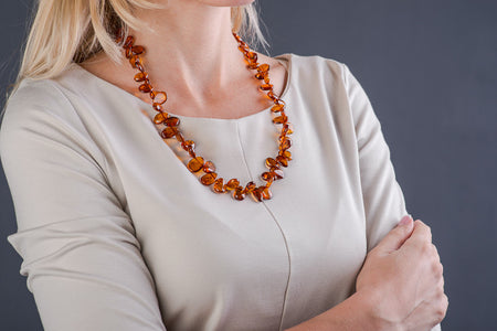 "Cognac Amber necklace flat beads ""Dear"""