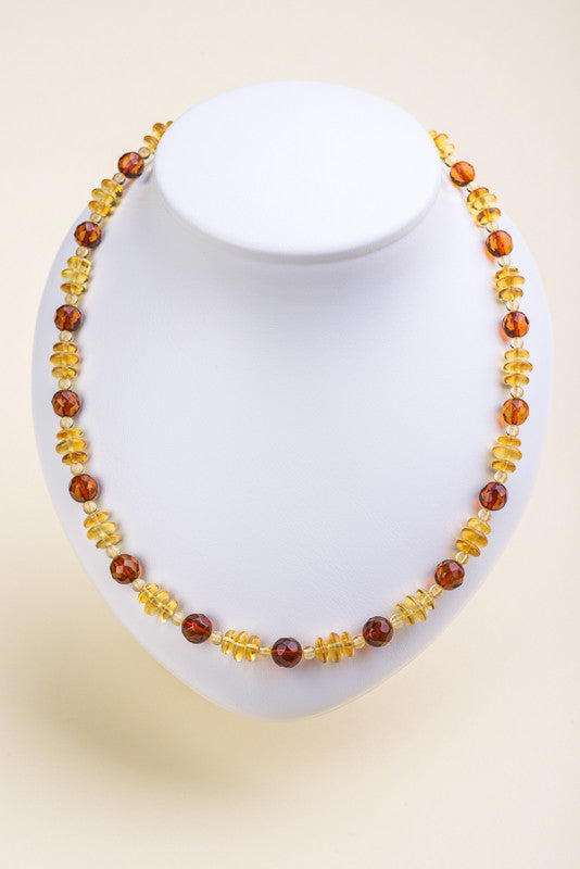 "Polished faceted Beads Baltic Amber Necklace ""Blush"""