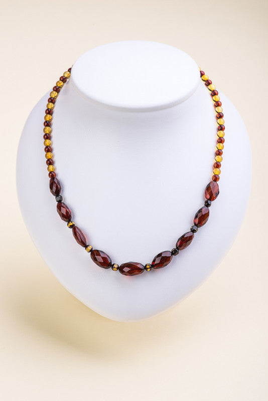 "Polished faceted Beads Baltic Amber Necklace ""Panacea"""