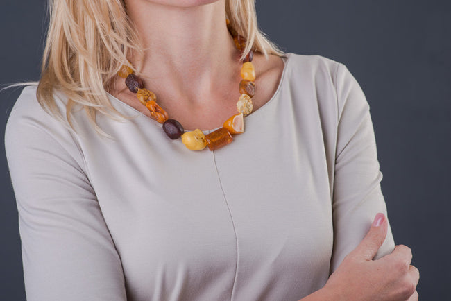 "Raw Baltic Amber Necklace ""Essence"""