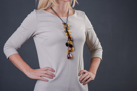 "Baltic amber multicolor necklace with leather chain ""Leaves"""