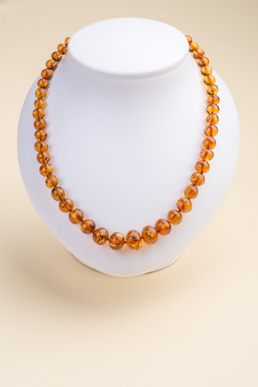 "Polished Baltic Amber Cherry Necklace ""Sphere II"""