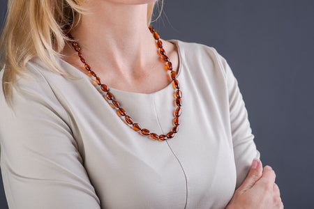 "Baltic Amber necklace cherry oval beads ""Eternity"""