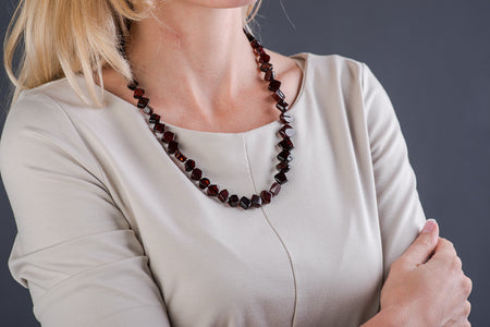 "Cherry square Amber bead necklace ""Fair"""