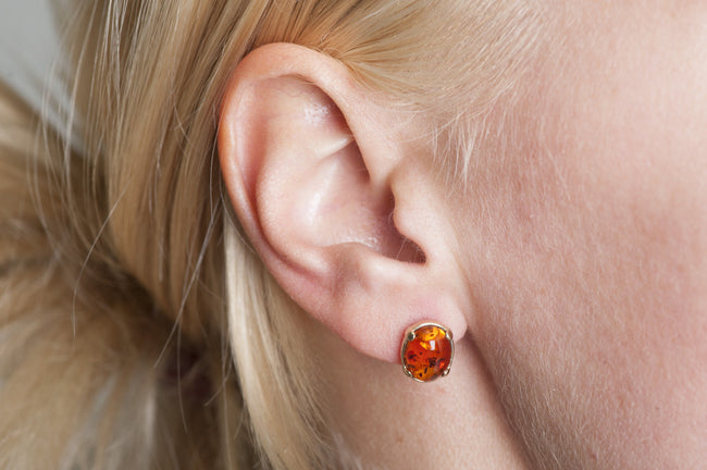 "Gold earrings with cherry amber stone ""Spirit"""