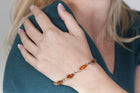 Cognac Baltic amber bracelet in 14kt yellow gold