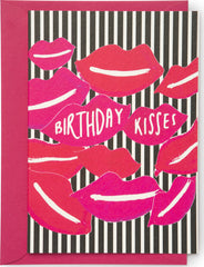 Birthday Kisses Lips Mini Card