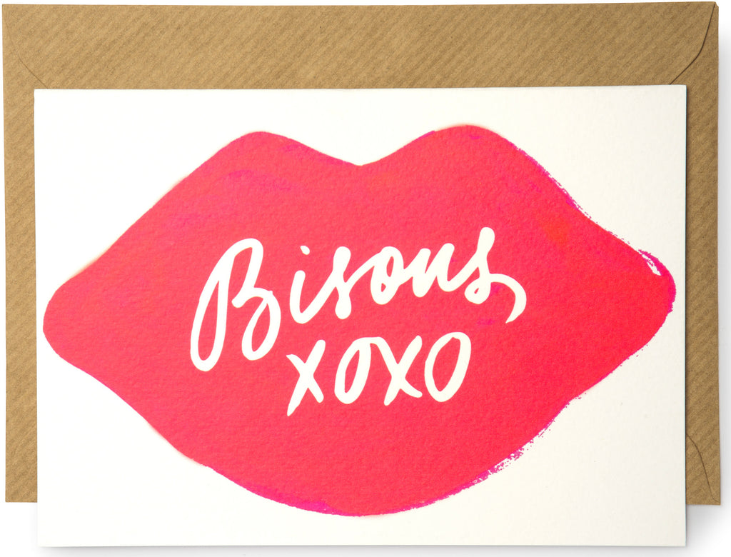Bisous Lips Card