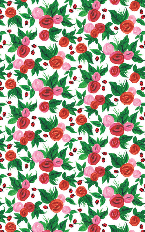 Roses and Ladybirds Wrapping Paper
