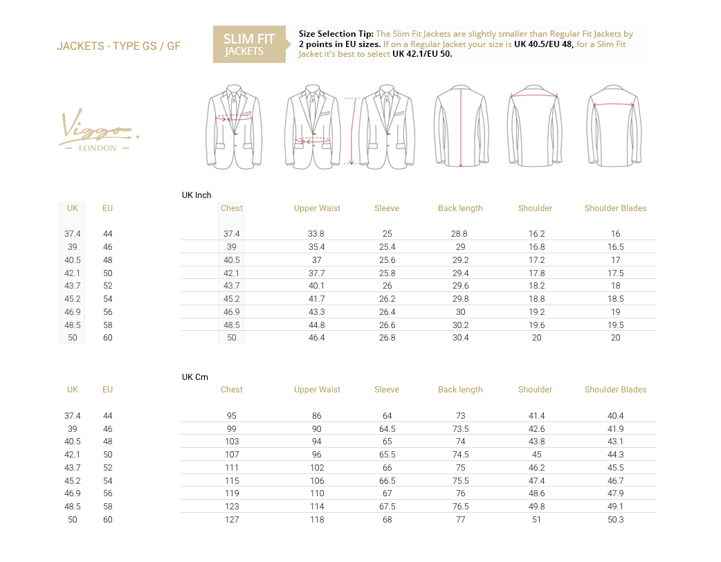 Size Guide for Jackets - Slim
