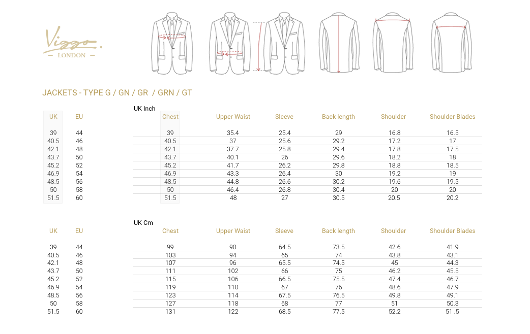 Size Guide for Jackets