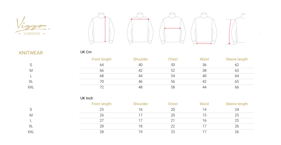 Size Guide for Knitwear