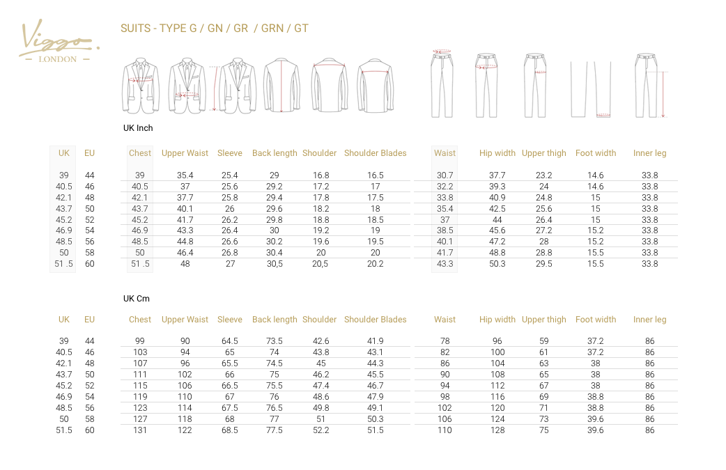 SIZE GUIDE FOR SUITS