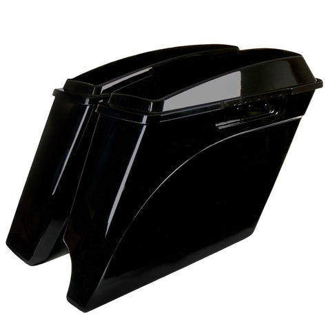 "4"" 2-into-1 Exhaust Stretched Extended Saddlebags for Harley Davidson (1993-2013)"