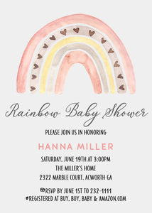 Rainbow Girl Baby Shower Invitation