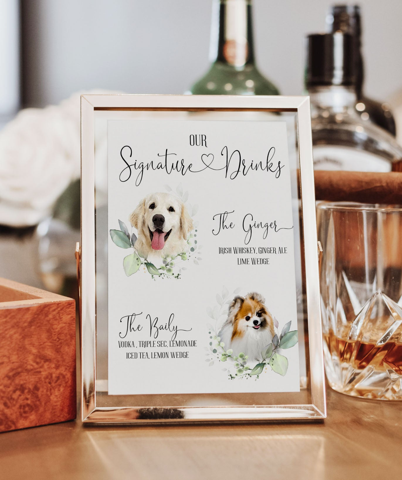 Heart Pet Signature Drink Sign
