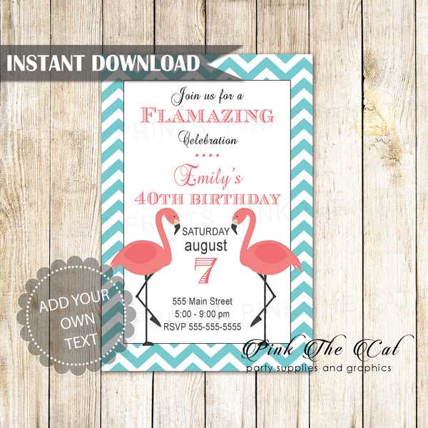 Free flamingo party invitations printable