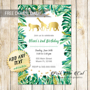 photo relating to Free Printable Jungle Animals called Cost-free printable jungle invites foil paper watercolor Do it yourself