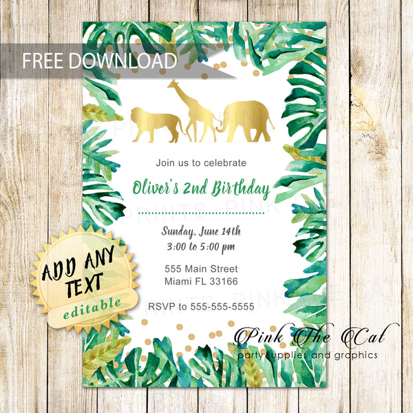 FREE PRINTABLE JUNGLE INVITATIONS