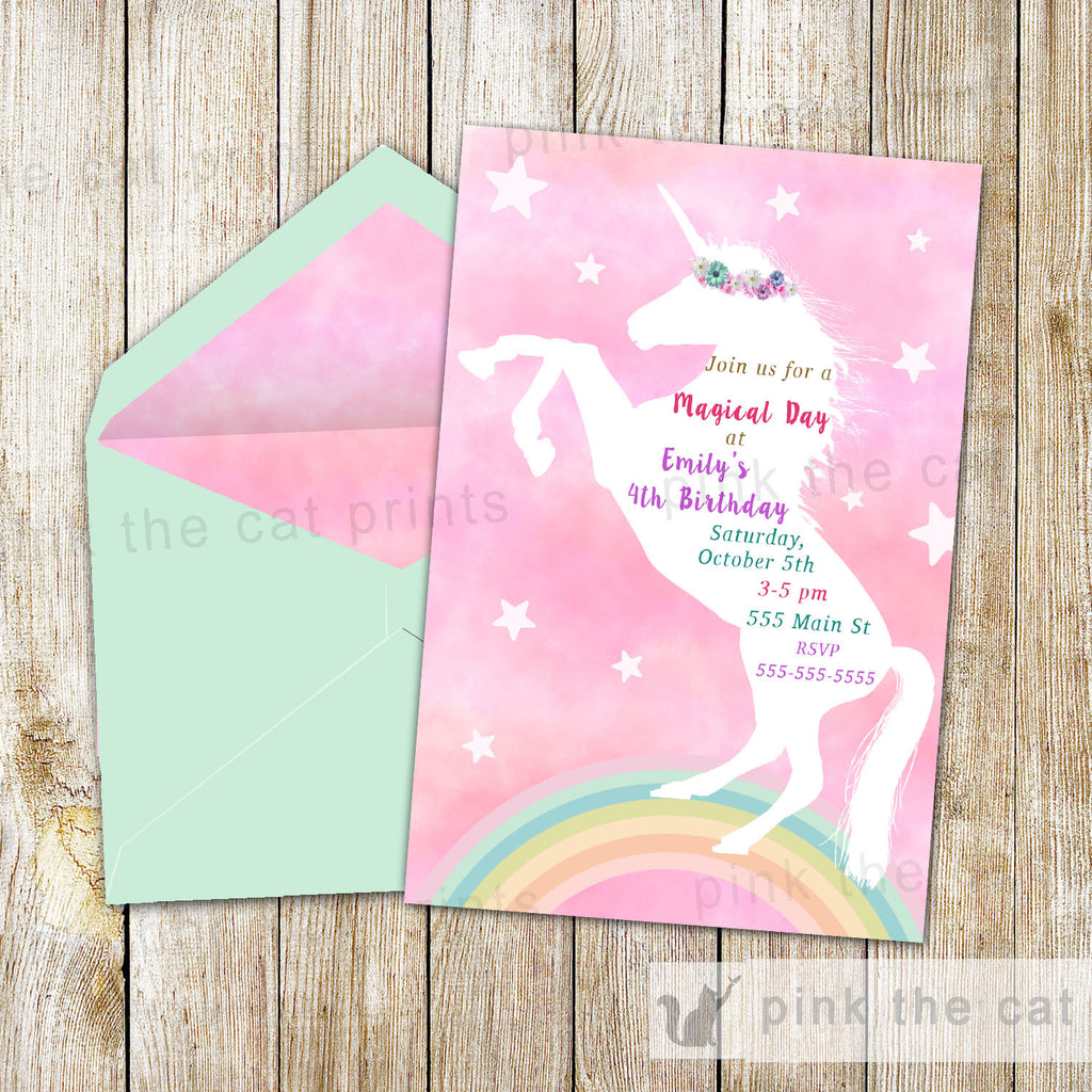 Free printable unicorn invitations pink the cat free printable unicorn invitations stopboris Gallery