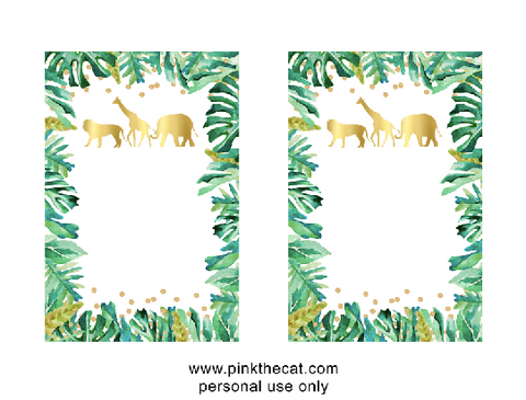 image relating to Free Printable Jungle Animals called Totally free printable jungle invites foil paper watercolor Do it yourself