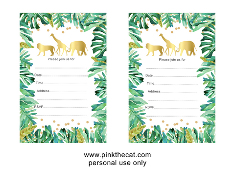 fill in jungle invitations for free