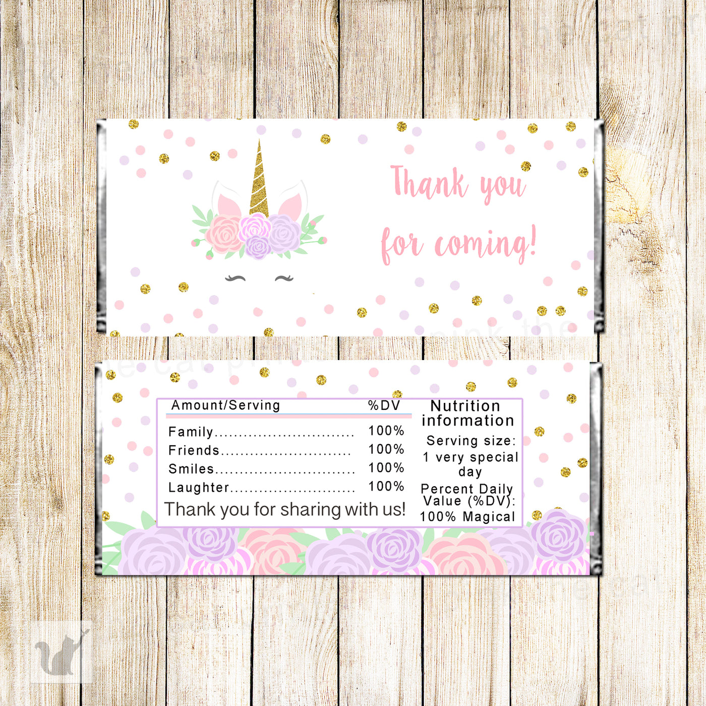graphic about Free Printable Baby Shower Candy Bar Wrappers named Unicorn Sweet Bar Wrapper Birthday Kid Shower Printable