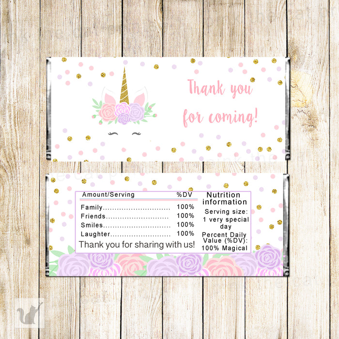 Unicorn Candy Bar Wrapper Birthday Baby Shower Printable