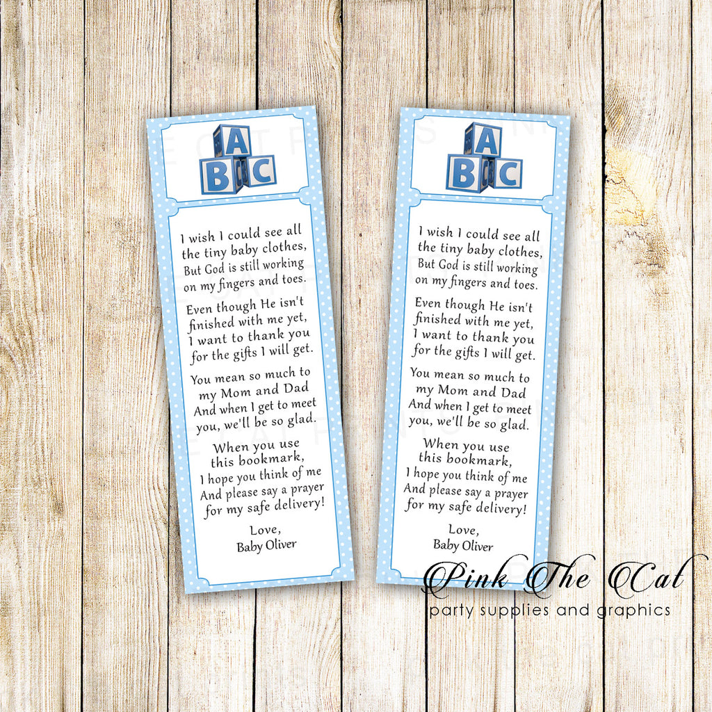 50 Printed Bookmarks Baby Shower Blue Blocks