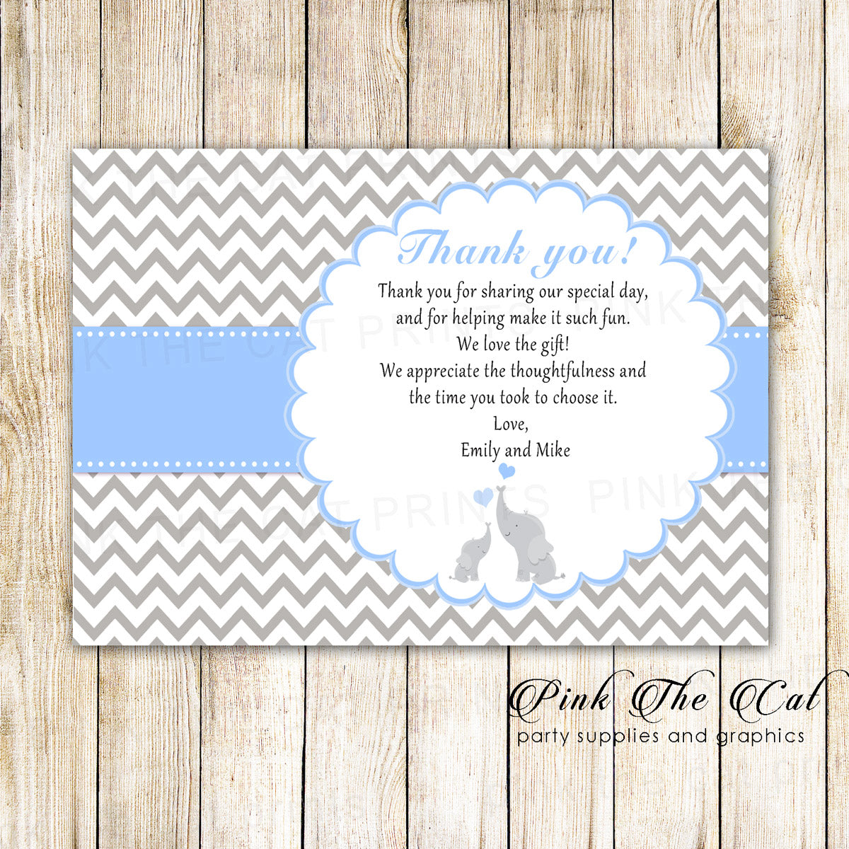 Thank You Cards Elephant Baby Shower Blue Printable Pink The Cat