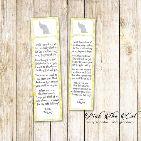 50 Printed Bookmarks Baby Shower Yellow Elephant