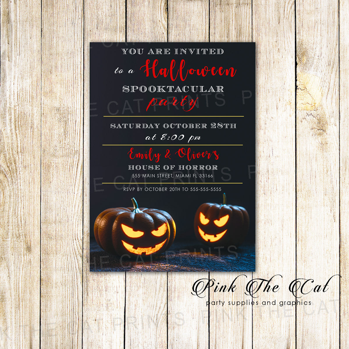 Halloween adult party invitation Printable – Pink The Cat