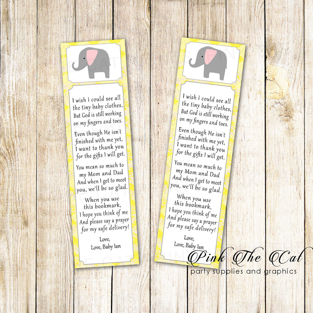 Elephant Bookmark Baby Shower Favor Yellow Gray Printable