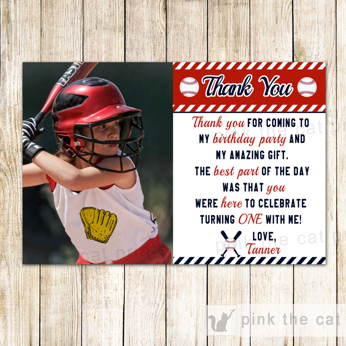 30 Thank You Cards Baseball Kids Birthday Photo Printable Pink The Cat