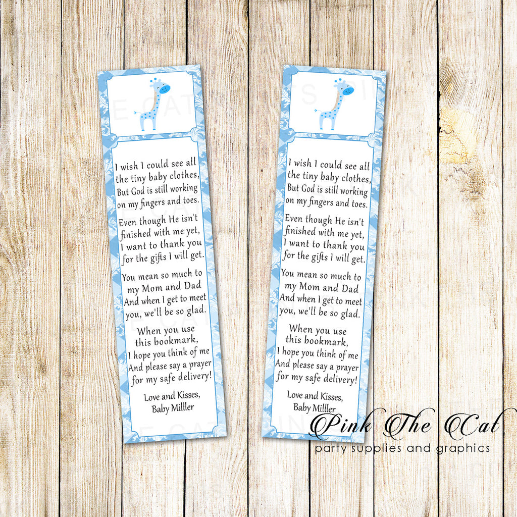 Blue Giraffe Bookmark Baby Shower Favor printable