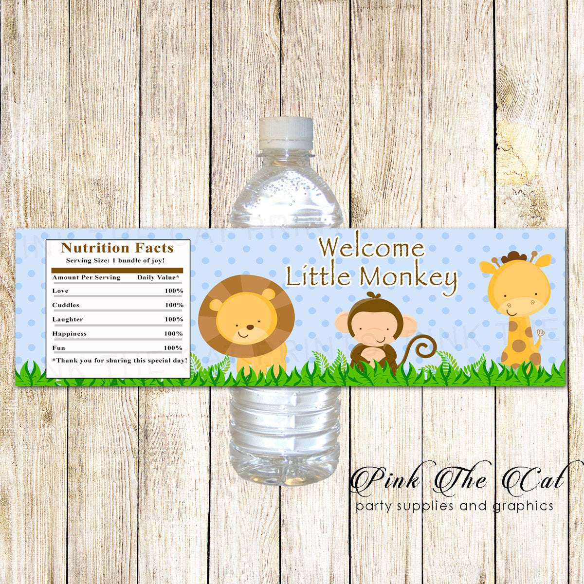 photograph about Printable Bottle Labels named Blue Jungle Drinking water Bottle Labels Birthday Boy or girl Shower