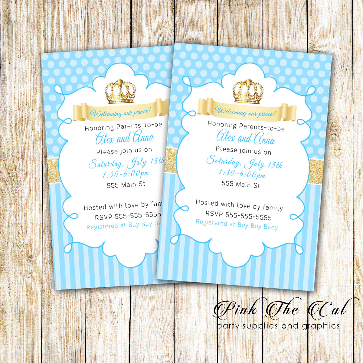 Prince Invitation Gold Glitter Blue Birthday Baby Shower Printable