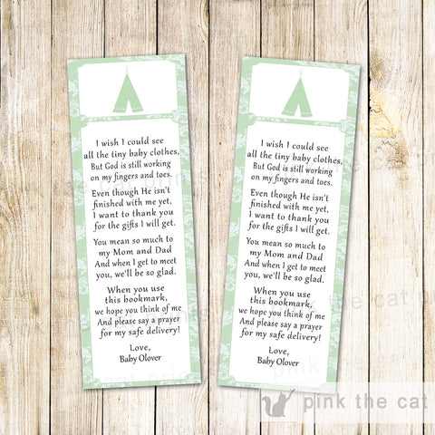 50 Printed Bookmarks Baby Shower Tepee Tribal Mint Green