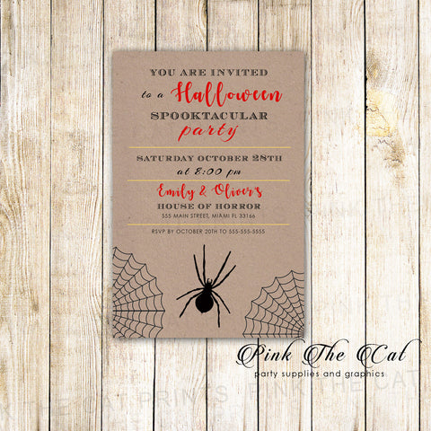 Halloween party invitation rustic spider
