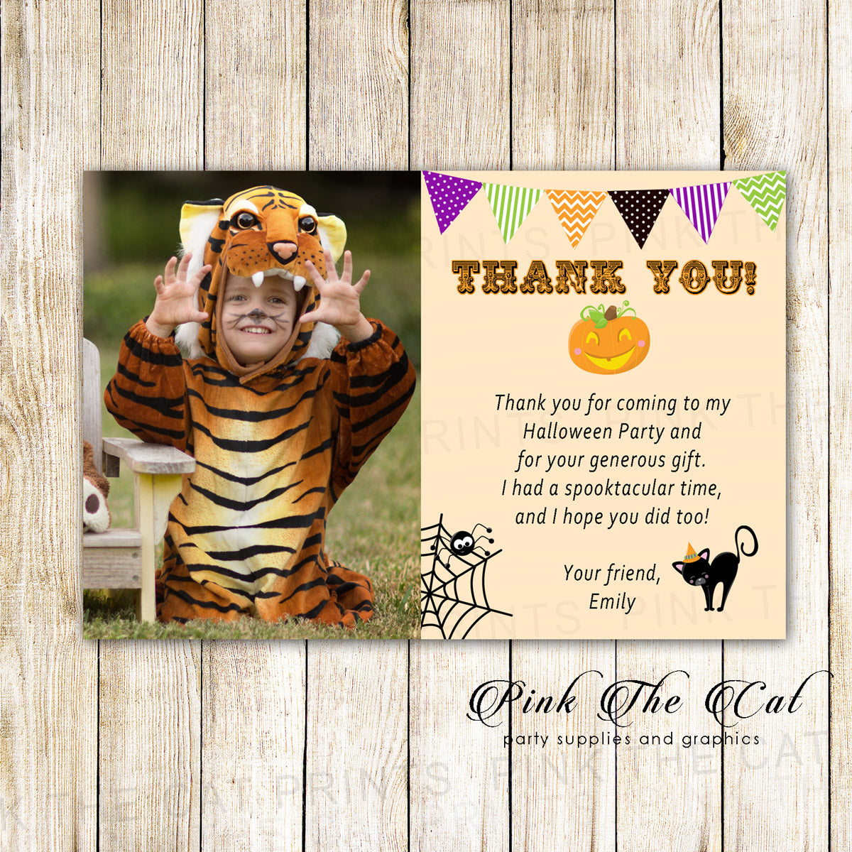 30 Thank You Cards Halloween Kids Birthday Photo Pink The Cat