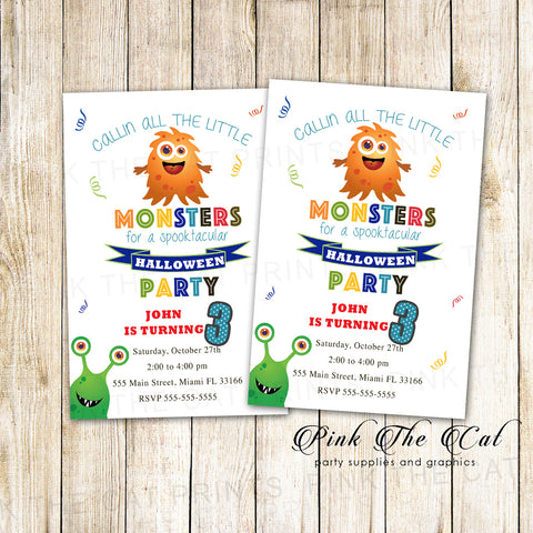 Halloween invitation moster kids party