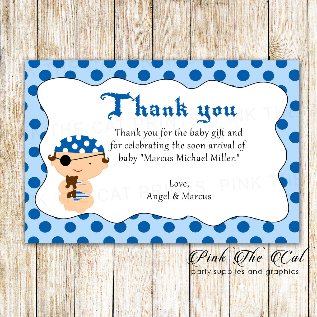 30 Thank You Cards Pirate Baby Shower Birthday Blue Pink The Cat