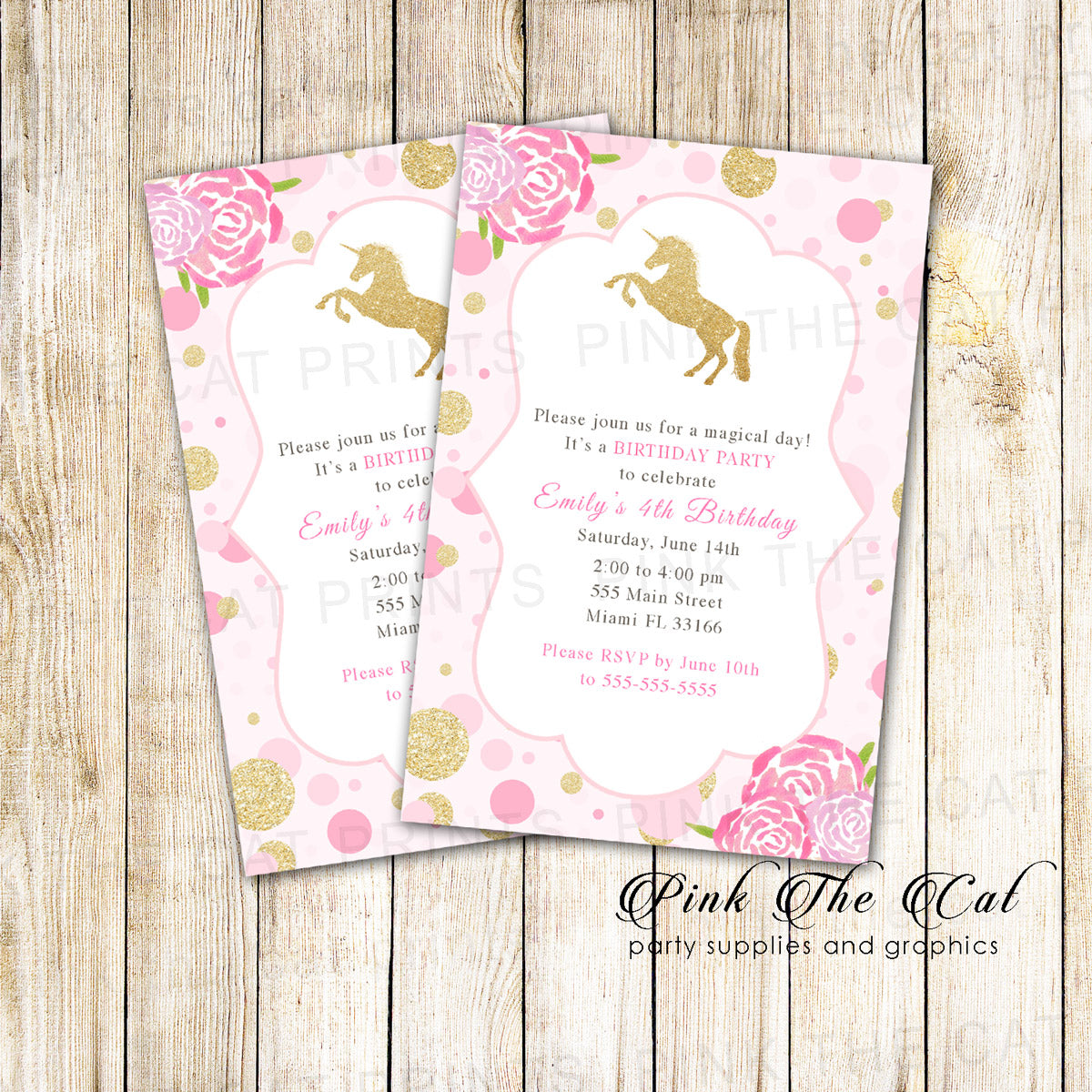 Unicorn Invitation Confetti Pink Gold Birthday Baby Shower Printable The Cat
