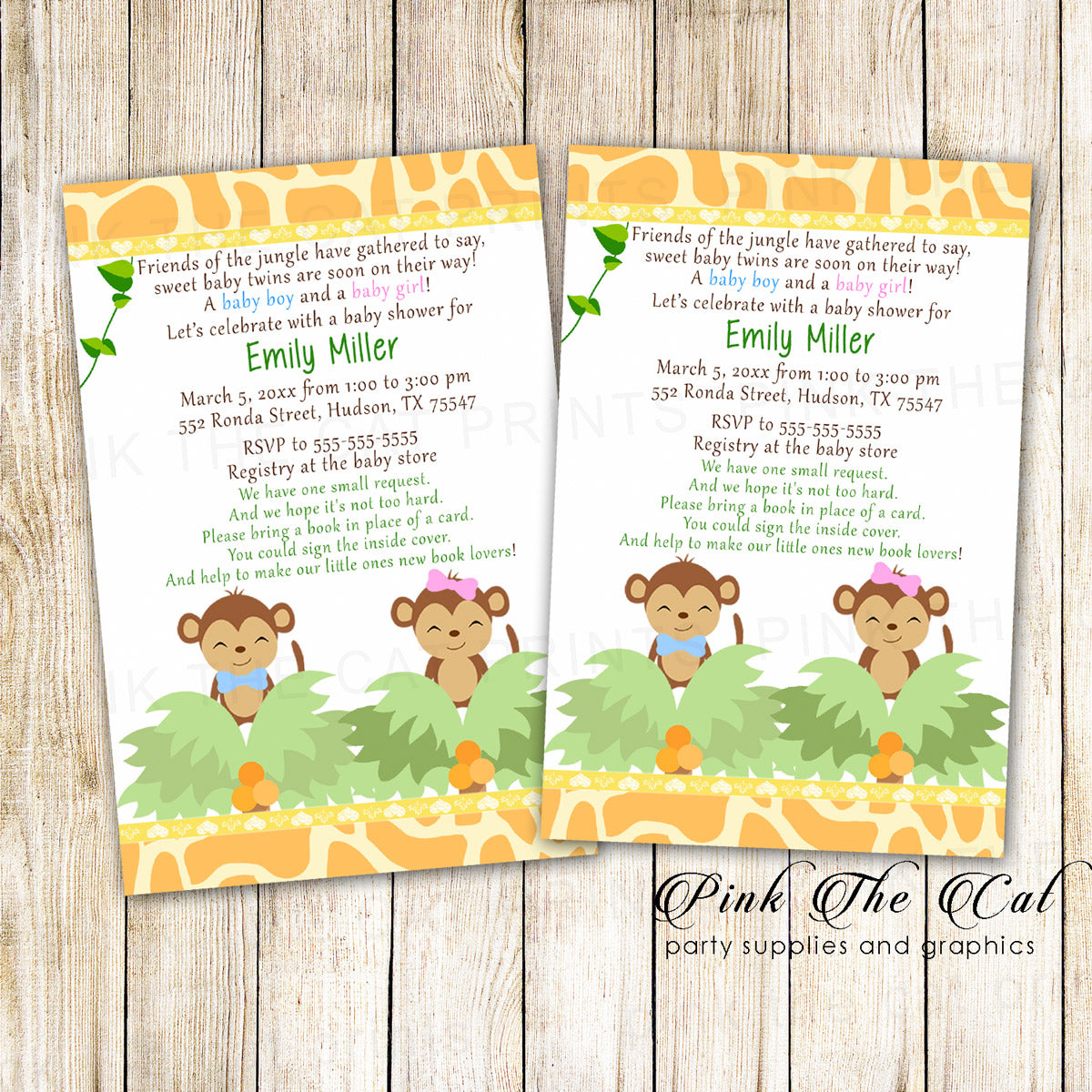 Twins Monkey Invitation Girl Boy Baby Shower printable – Pink The Cat