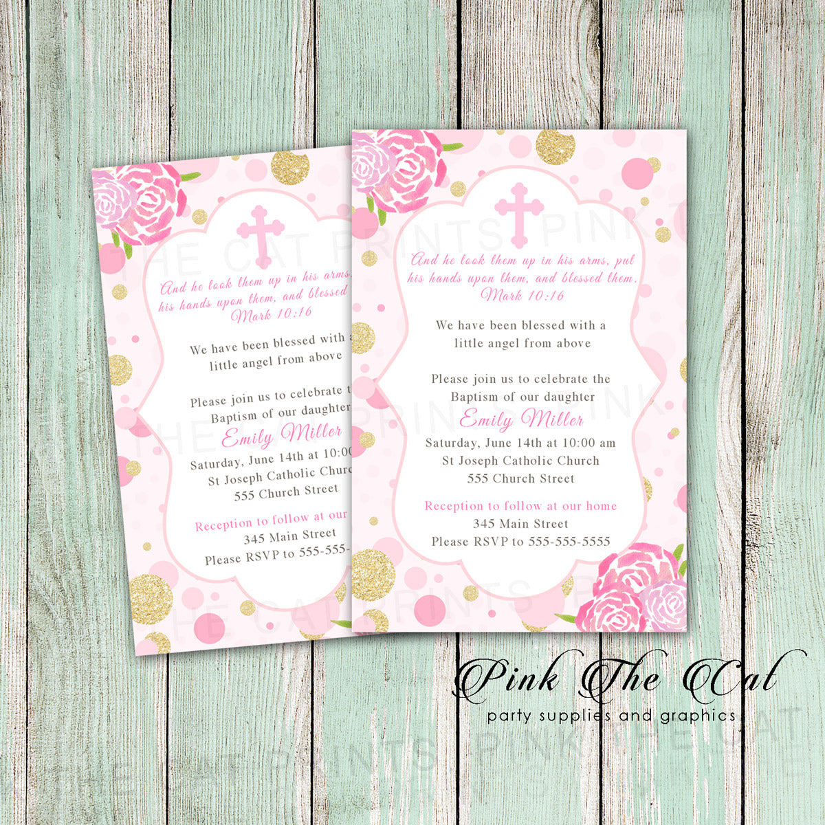 Floral baptism invitation girl christening Printable Pink The Cat