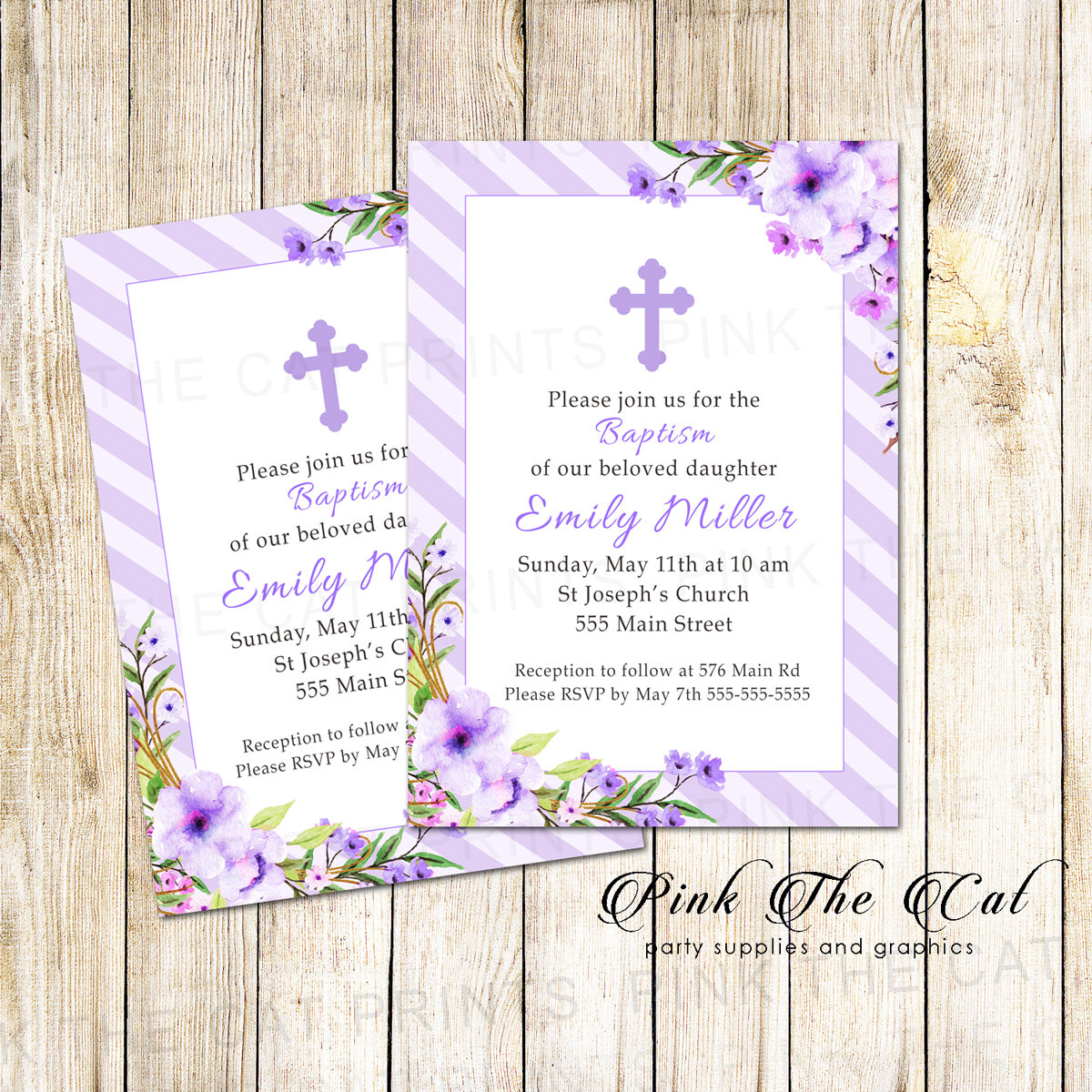Floral watercolor baptism invitation lavender Printable Pink The Cat