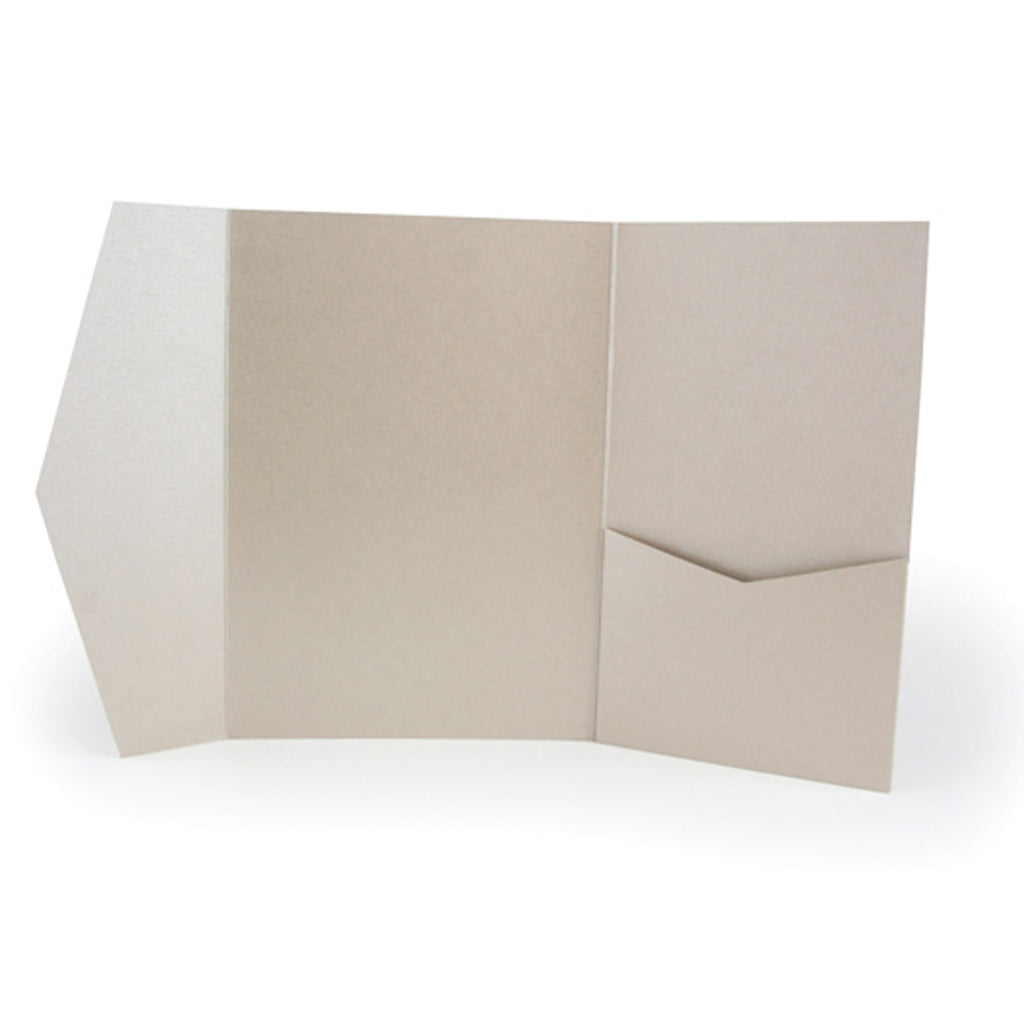Pocket Fold Invitation Holder Wedding Supplies Light Brown Metallic